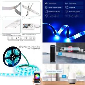 Image 5 - 5M WiFi Bluetooth LED Strip DC 12V SMD 5050 Non waterproof Flexible RGB Tape Ribbon Light Works With Amazon Alexa Google Assist