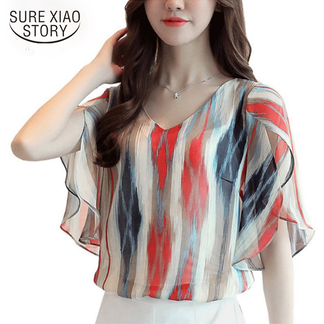 6ad294f4d4f Women Chiffon Blouses Summer Color Striped Print Tops Elegant Petal Sleeve  Shirt Plus Size Floral Estampado