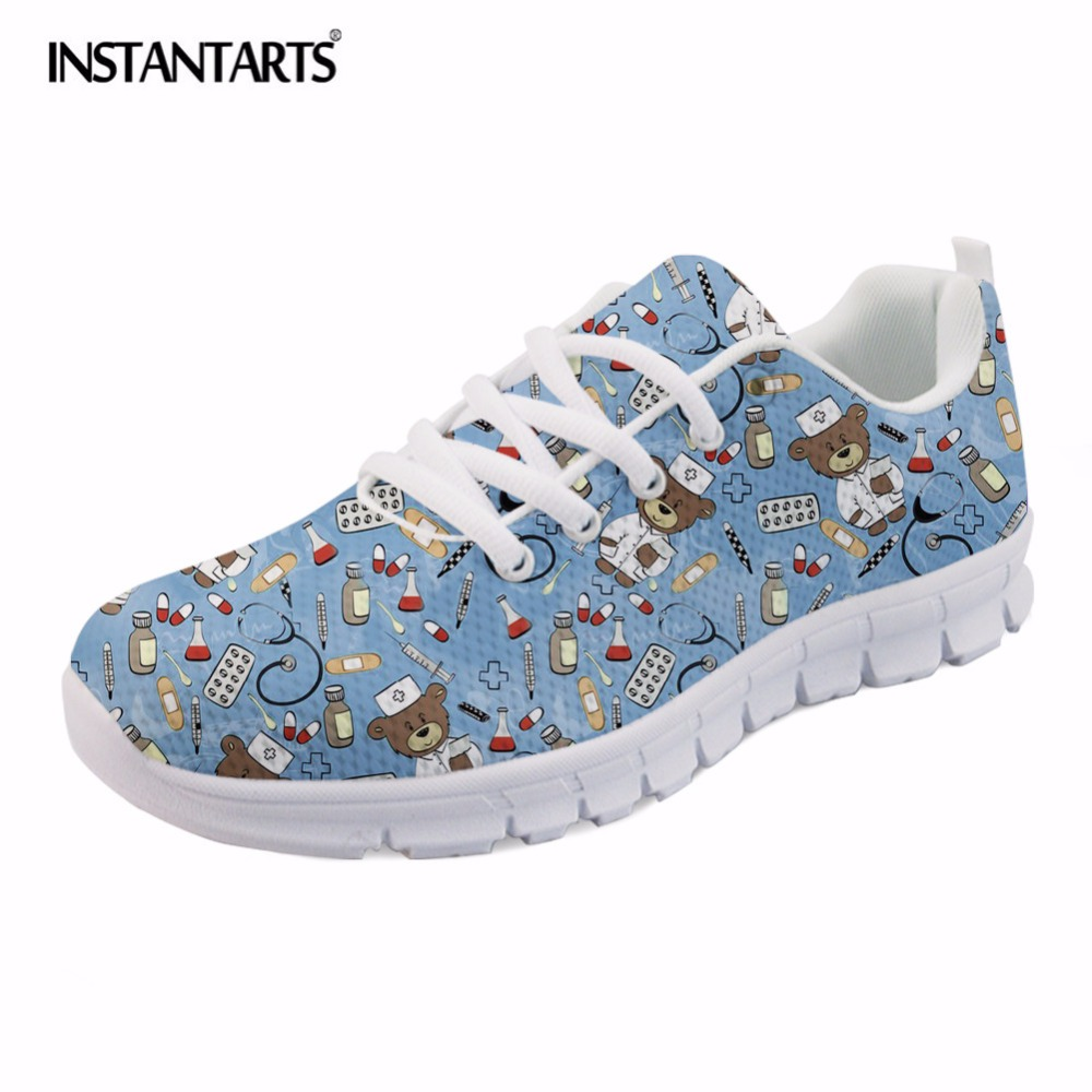 INSTANTARTS Summer Breathable Mesh Flat Shoes Women Nurse Bear Print Woman Lace Up Sneaker Shoes Girls Lady Comfort Nursing Shoe instantarts women flats emoji face smile pattern summer air mesh beach flat shoes for youth girls mujer casual light sneakers