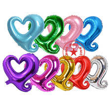 heart balloon decoration supplies foil wedding birthday party purple pink red shape