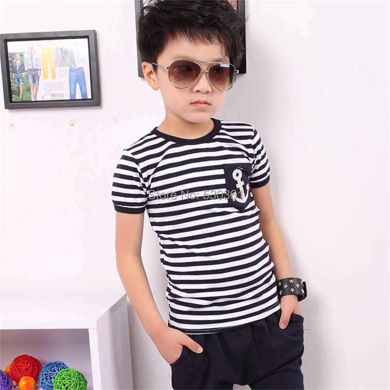 TANGUOANT-Free-shipping-hot-sale-summer-clothing-sets-kids-pants-Top-boys-girls-Navy-Stripe-kids-clothes-children-tracksuit-1
