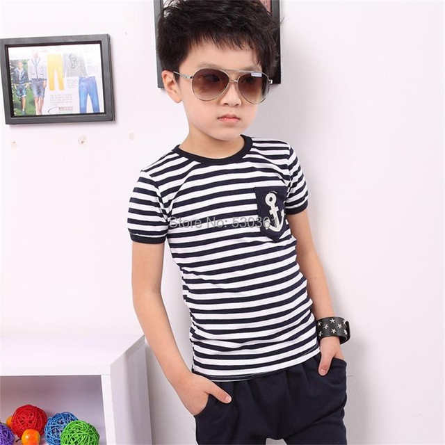 7d08ce1ea77 placeholder TANGUOANT Free shipping hot sale summer clothing sets kids  pants + Top boys girls Navy Stripe