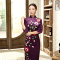 Novelty Traditional Chinese Clothing Purple Velour Qipao Long Cheongsam Top Prom Gown Dress Flowers Size S M L XL XXL XXXL