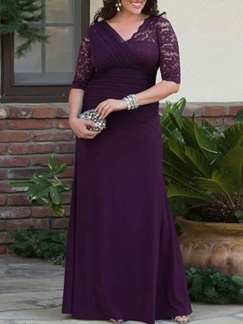Lace mid-sleeve v-neck catch dry chiffon a-line simple mom dress bridesmaid party style