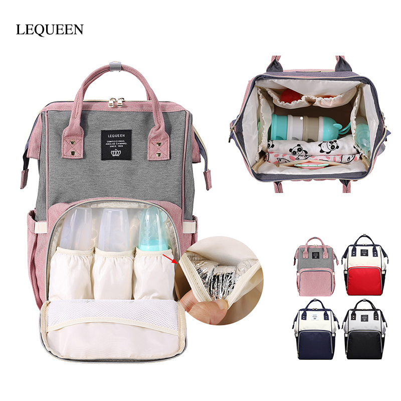 LEQUEEN Multifunctional Fashion Mummy Maternity Nappy Bag Large Capacity Baby Diaper Bag Travel Backpack Designer Nursing Bag
