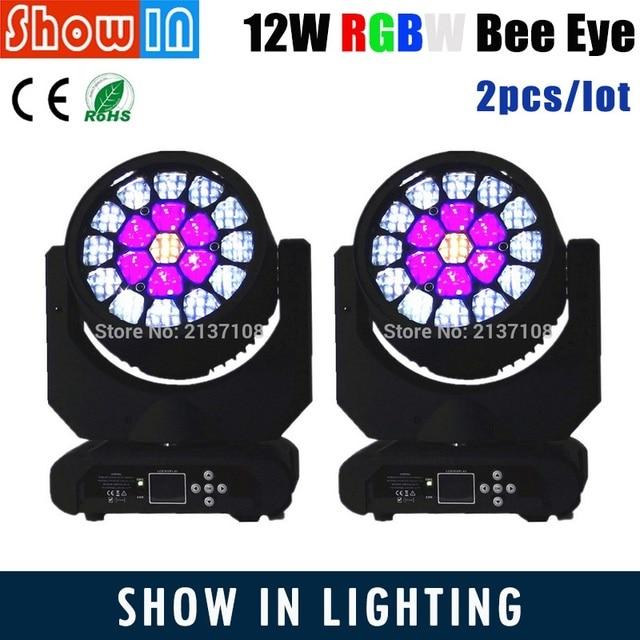 19*12W RGBW LED Bee Eye Moving Head Beam Wash Amazing HAWKEYE DJ Disco Party Wedding DMX512 Stage Lighting Project Free Shipping