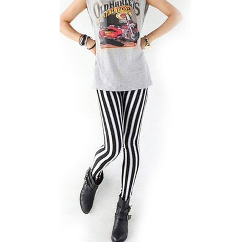Womens Lady Fashion Cool Sexy Black White Strip Print Leggings Pants Hot High Quality