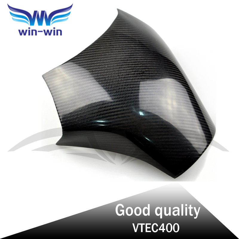 ФОТО hot sale motorcycle accessories black color caron fiber fuel gas tank protector pad shield rear carbon fiber for HONDA VTEC400