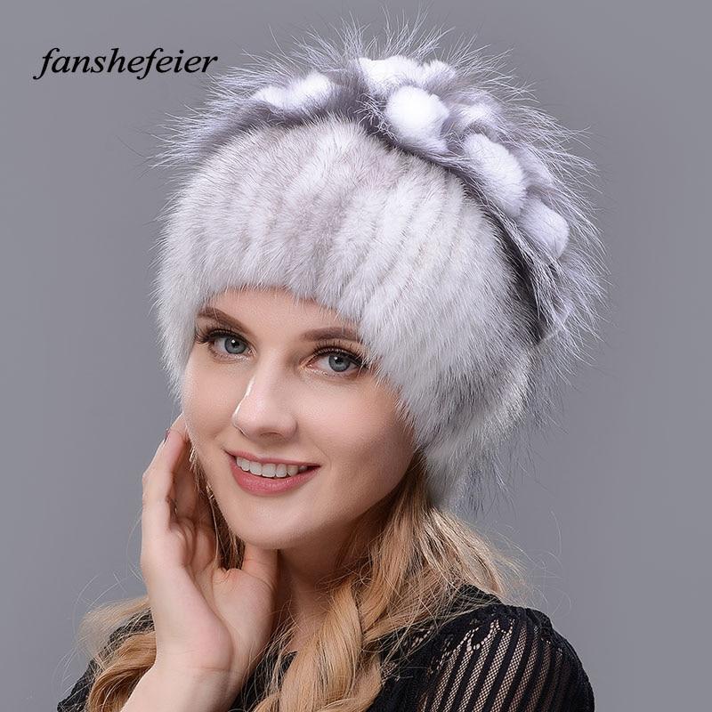 Fanshefeier Female beanies knitted warm enough fur hat Women winter mink hat of real natural Rabbit hair silver fox fur caps