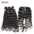 3 шт. Девственные волосы перуанский глубокая волна с закрытия, отбеленные узлы, 7А человеческие волосы 100% ткет с закрытием бесплатная доставка