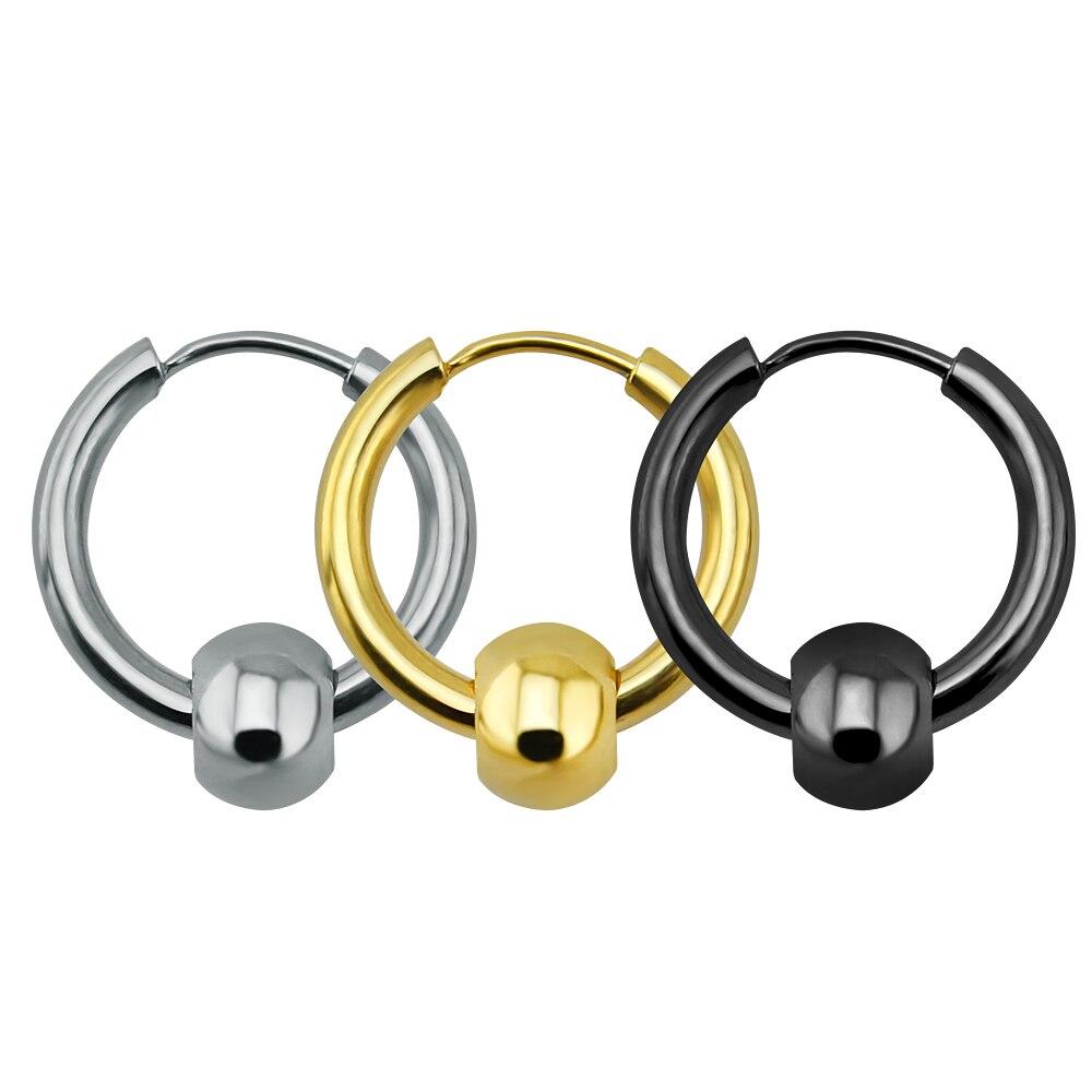 Punk Fashion Earrings Stud Cartilage Helix Flexible Bead Hoop Earrings  Piercing Surgical Steel Circle Earrings Stud