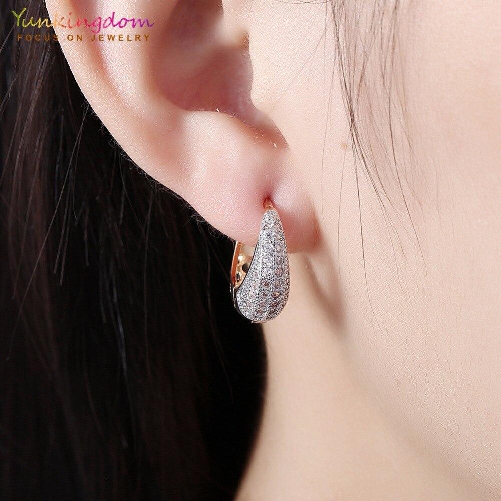 Yunkingdom Water Drop Design Koło Hoop Kolczyki dla Kobiet Elegancka - Modna biżuteria - Zdjęcie 5