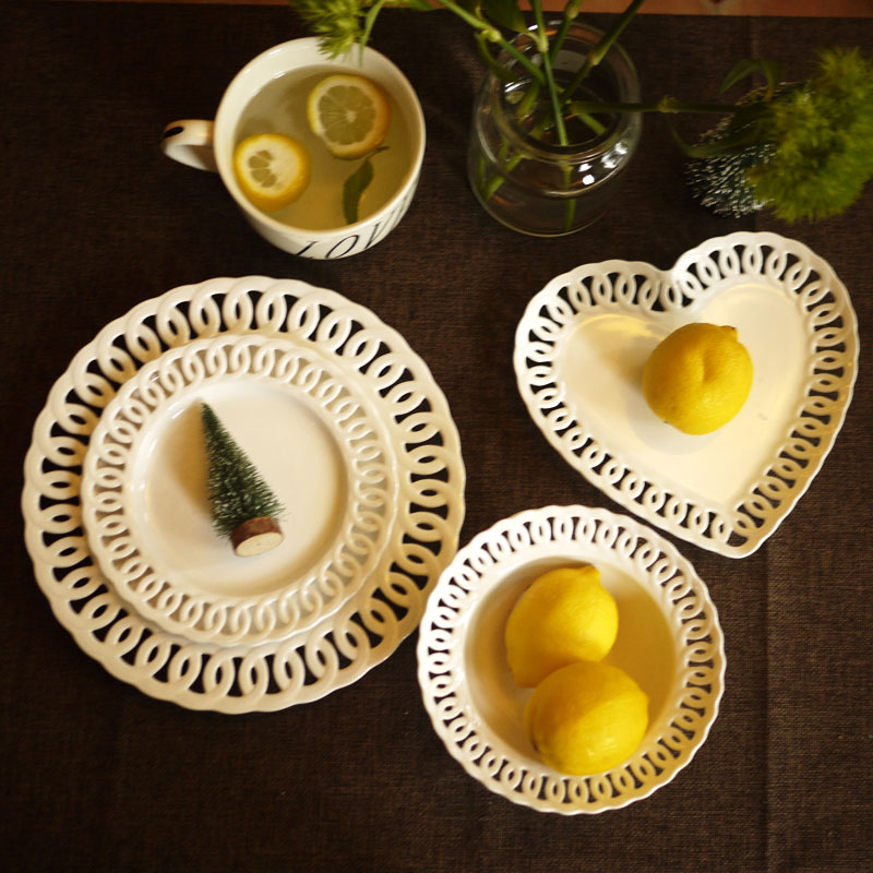 Dinnerware Sets Ceramic Plate Food Dishes Lace Edge Ceramic Dishes