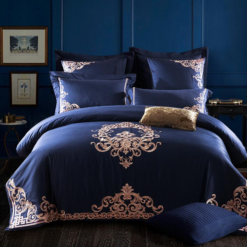 Golden Embroidery Home Textile Bedding set Luxury Royal bedclothes Bed cover Blue Egypt Cotton Duvet Cover Bedsheet PillowcaseGolden Embroidery Home Textile Bedding set Luxury Royal bedclothes Bed cover Blue Egypt Cotton Duvet Cover Bedsheet Pillowcase