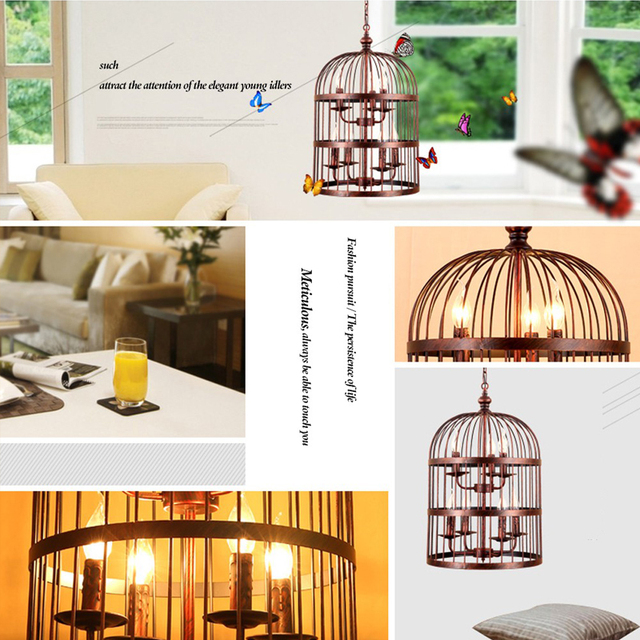 LED ream  E14 Birdcage chandelier American country, wrought iron lamp restaurant bedroom lamps Cage lamp