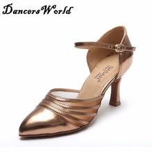 Ladies Latin Dance Shoes Height Heel 7.5cm Soft Sole Bronze/Black Shoe Beaut Female Professional Rumba Ballroom Sneaker 1030