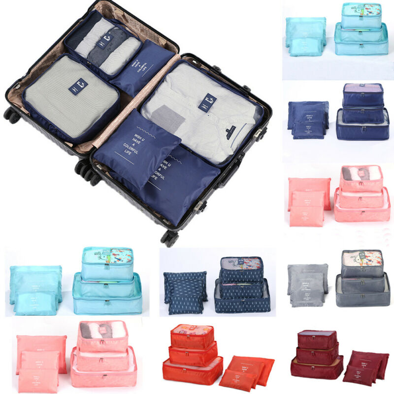 NoEnName 6 Pcs/Set Travel Storage Bags Clothes Packing Cube Luggage Organizer Pouch Bag(China)