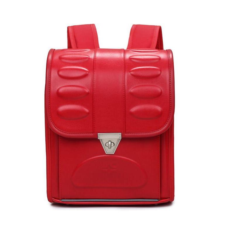 2018 fashion Orthopedic School bags Boys girls high quality pu leather Box student Backpack Children Mochila