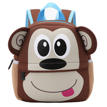 Cute Animals Toddler School Bags 3D Cartoon Monkey Backpacks Neoprene Kindergarten Schoolbag Girl Boys Bag Mochila Escolar