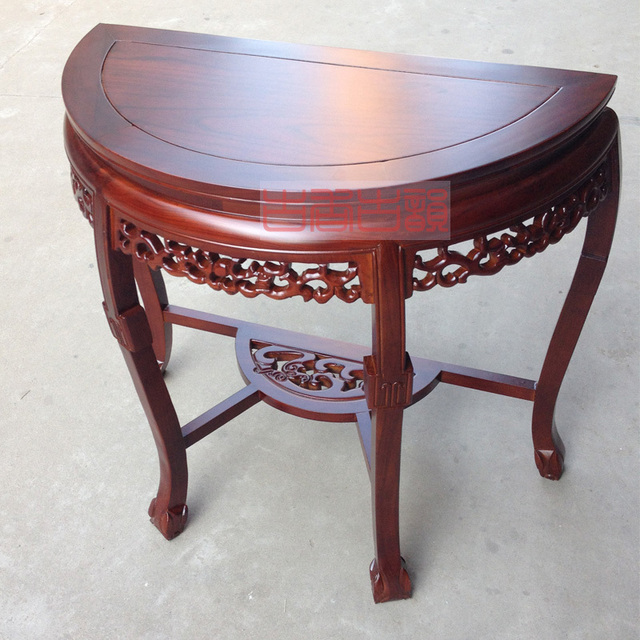 Elm Vestibule Half Roundtable Console Tables Semicircular Wall Wood Table Living Room Semicircle Chinese T