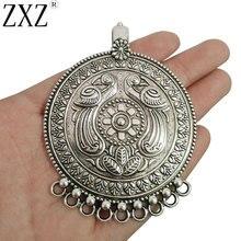 ZXZ 2 шт Племенной Большой античный серебряный богемный Boho 9 Bailors Разъемы Подвески для изготовления ювелирных изделий 80x62 мм