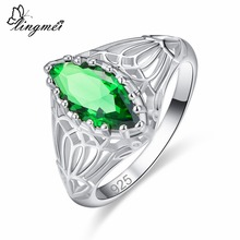 lingmei Wholesale Wedding Engagement Marquise Cut Blue & Green Cubic Zircon Silver 925 Ring Size 6 7 8 9 10 11 12 13 Gorgeous