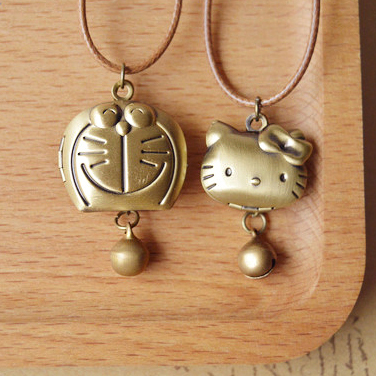 Cute Bronze Doraemon Hello Kitty Pendant Necklace with Bell Openable Japanese Cartoon Movie Figures KT Jewelry