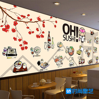 Free Shipping Japanese Style Sushi Gourmet Personality And Creative Style Wallpaper Restaurant Lounge Bar Cafe Wallpaper