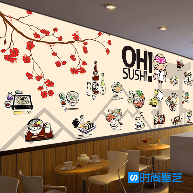 Photo wallpaper japanese food style wallpaper restaurant for Cafe mural wallpaper