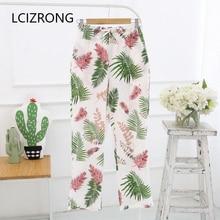 Spring 8 Colors Print Long Sleep Bottoms Women Gauze Cotton Thin Leisure