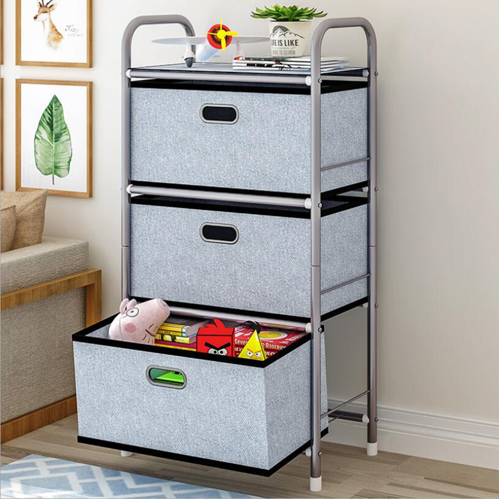 Multifunction Chest of Drawers Dresser 3 Drawer Non woven Furniture Cabinet Bedroom Storage Toy storage box