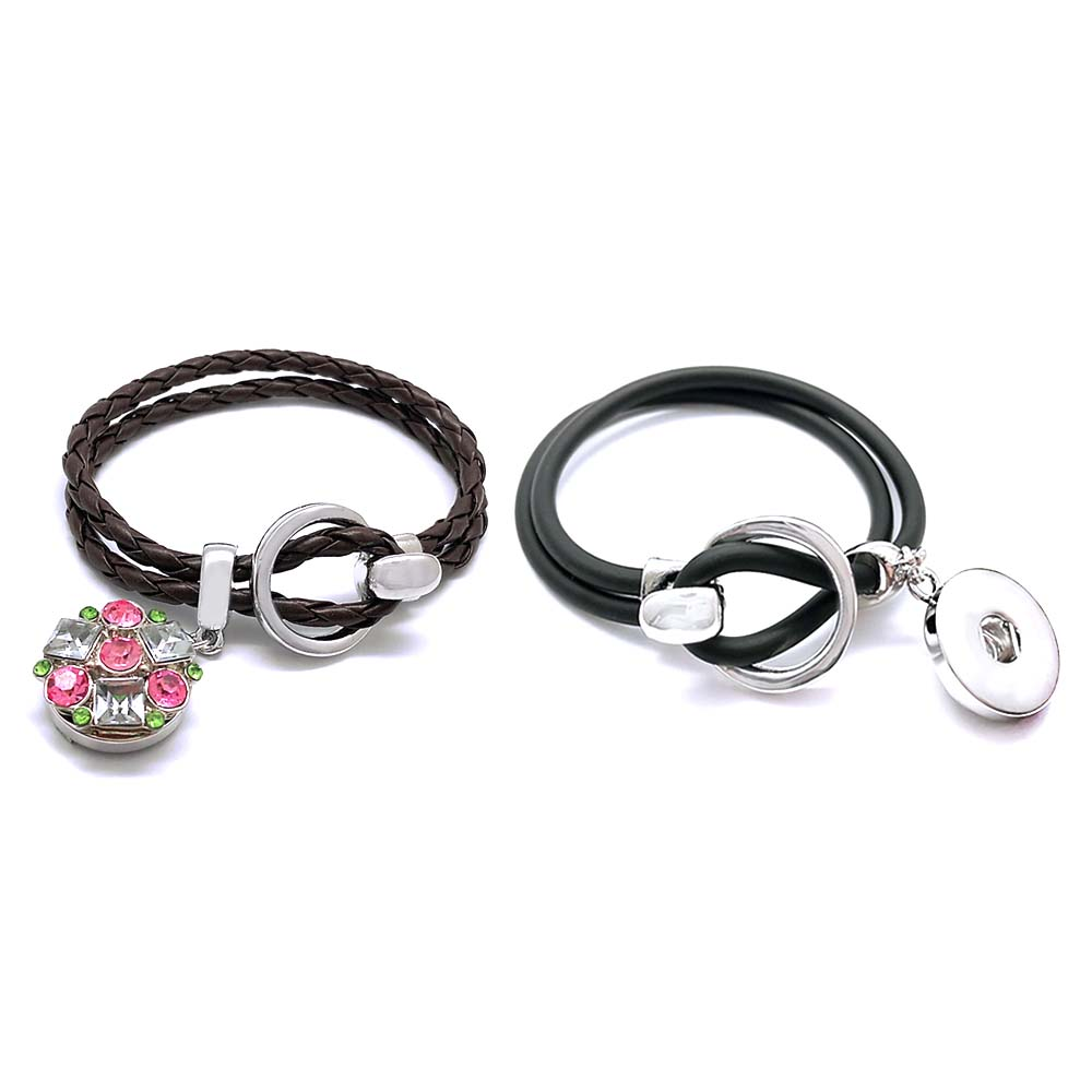 Hot sale 288 hand woven PU Leather Retro Bracelet fit 18mm Snap Button bangle Charm Jewelry For Women Teenagers Gift Length 20cm
