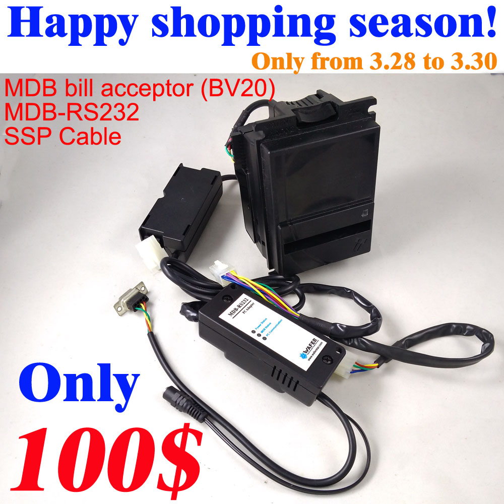 Happy shopping 3.28 Economical MDB R232 With BV20 Bill validator bill acceptor for MDB development kits