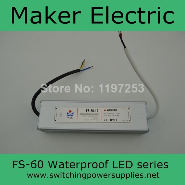 professional Waterproof outdoor Single Output Switching power supply for LED Strip light ac to dc 48v 1.3A 60w FS-60-48 1.3A allishop 300w 48v 6 25a single output ac 110v 220v to dc 48v switching power supply unit for led strip light free shipping
