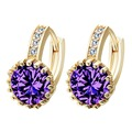 10PCS/lot Lavender Crystal Earrings Wholesale Jewelry Micro Inaly Clear Cubic Zircon Wedding Accessories