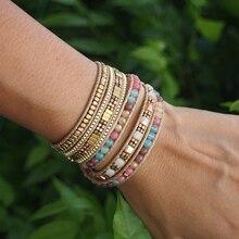 Бохо драгоценные камни, бусины многоцветные кожаные 5 обертывание ручной работы браслет с надписью ювелирные изделия