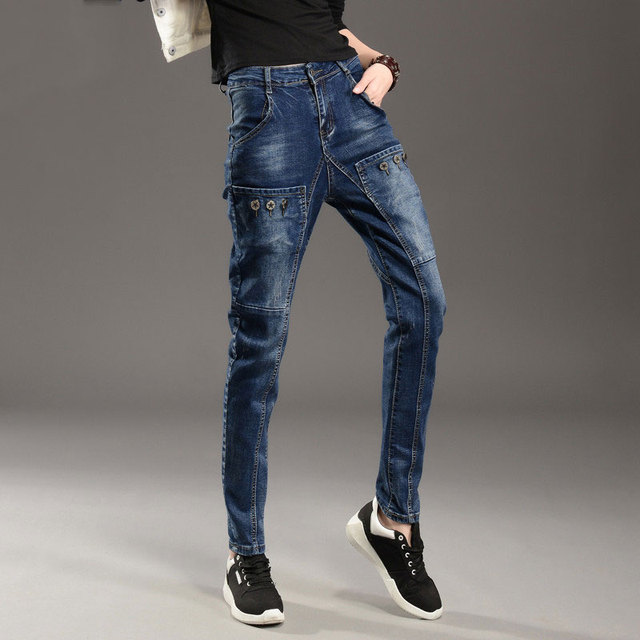 b24c086f13 Spring and Autumn New type models ladies big pockets jeans loose casual  collapse pants Harem pants TB7728