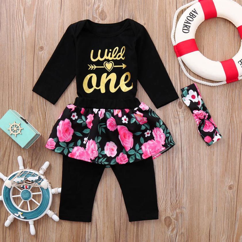Beautiful Toddler Infant Baby Girls Costume Sets Letter Floral Print Romper Jumpsuit Pants Outfits Set Childrens Costume Cloth