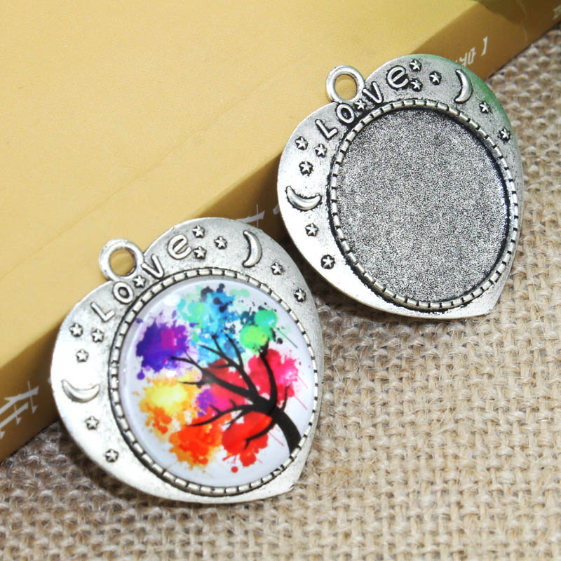 5pcs/lot 25mm Inner Size Zinc alloy Silver Love Necklace Pendant Cameo Cabochon Base Base Tray Bezel Blank F-020116 mibrow 10pcs lot stainless steel 8 10 12 14 16 18 20mm blank french lever earring tray cabochon setting cameo base jewelry