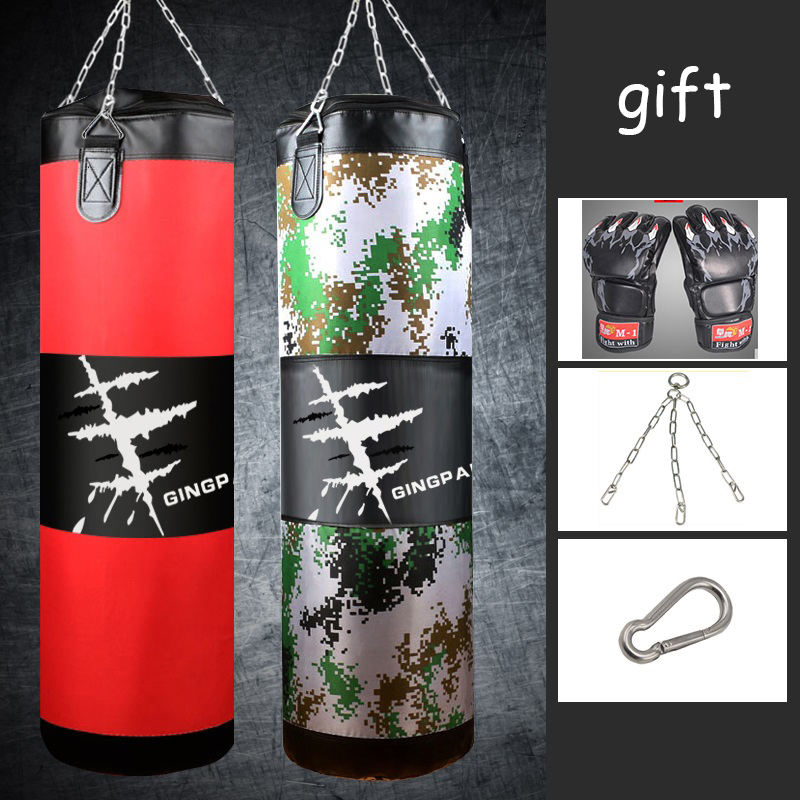 120cm PU Leather Canvas Kick Boxing Punching Bag Sandbag Adult MMA Muay Thai Taekwondo Sport Fitness Training Exercise Equipment