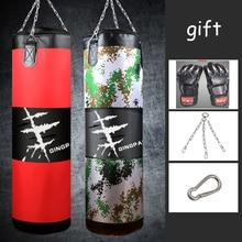 цена на 120cm PU Leather Canvas Kick Boxing Punching Bag Sandbag Adult MMA Muay Thai Taekwondo Sport Fitness Training Exercise Equipment