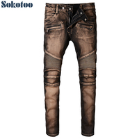 Sokotoo Men S Slim Fit Patchwork Biker Jeans For Moto Vintage Plus Size Pleated Stretch Denim