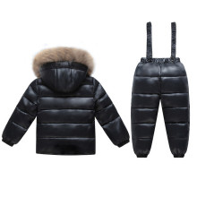 2018 Baby Snowsuit winter Kids Ski Suit Children Snow Wear Girl Clothing Set Boys Thick Duck Down Coat Fur Collar+Overalls Park