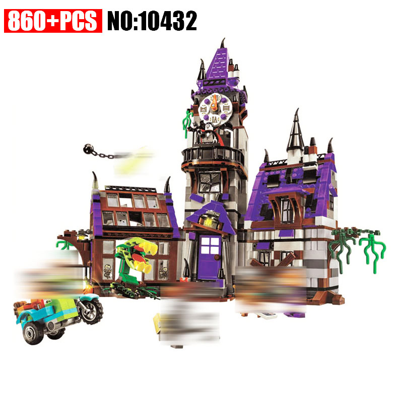 AIBOULLY 10432 Scooby Doo Mysterious Ghost House 860pcs Building Block Toys Compatible 75904 Blocks For Children gift 10432 scooby doo mysterious ghost house mode building blocks educational toys 75904 for children christmas gift legoingse toys
