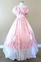 Розовый Ганн Саксофон Гражданская война костюм ренессанс атласное платье дрес