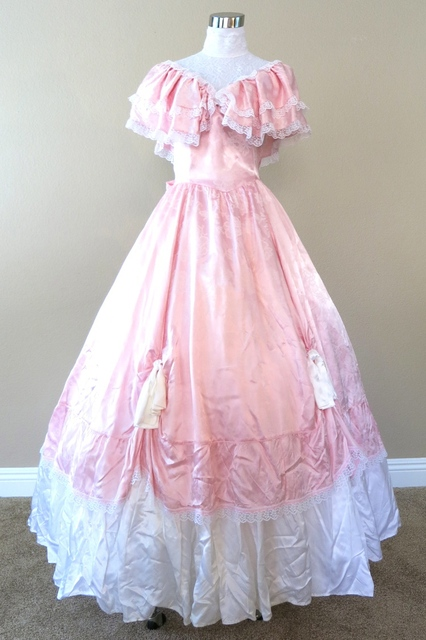 Pink Gunne Sax Civil War Costume Renaissance Dress Satin Dres