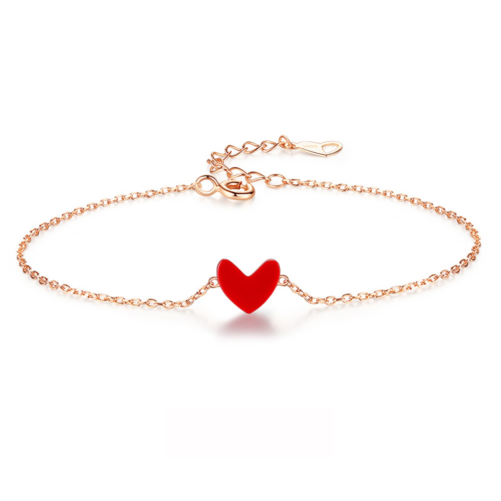 RINYIN Fine Jewelry 100% Solid 18K Yellow Gold Bracelet 6-8 Inches Pure Au750 Red Heart Onyx CharmRINYIN Fine Jewelry 100% Solid 18K Yellow Gold Bracelet 6-8 Inches Pure Au750 Red Heart Onyx Charm
