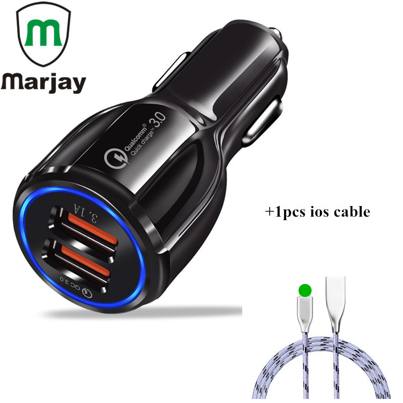 Car Charger Quick Charge 3.0 Max 30W 2 Ports USB Fast Charging Travel Adapter With 1M USB Cable For iPhone X Tablet Car-Charger