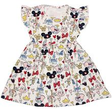 Hot Selling Baby Girls Summer Cartoon Dress Children 100% Cotton Dress Girls Boutique Summer Clothing for Party and Trip
