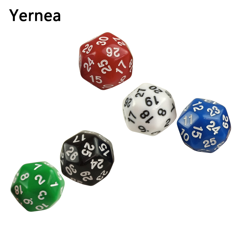 Yernea High-quality Multifaceted Dice Set 5Pcs D30 Rounded Corners Polyhedron Digital Dungeons and Dragons Games